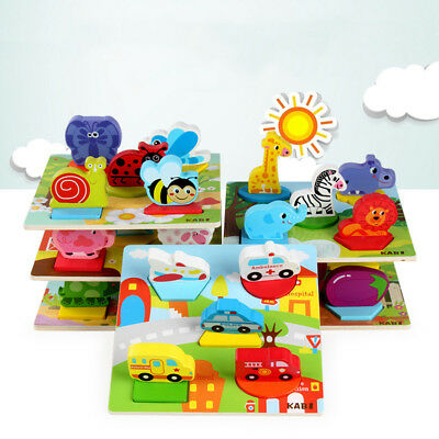 Kids Baby Wooden Lovely Toy 3D Puzzle Geometric Learning Educational Fun Gift CO
