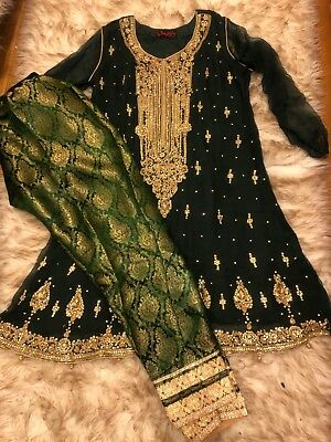 pakistani indian salwar kameez formal womens green and gold suit worn once