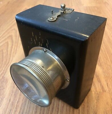 Vintage 1920 Wood Box FLASHLIGHT unrestored TORCH Mining Bicycle Lantern Lamp NR