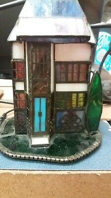 Tiffany Stained Glass Lighted Village town  House c. Dale