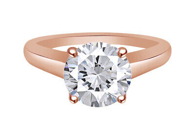 Certified 1.50 Ct Si1/f Round Lab Diamond Solitaire Wedding Ring 14K Rose Gold