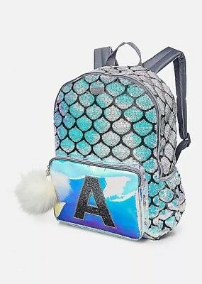 NWT Justice Mermaid Initial A Full Size Backpack