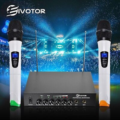 EIVOTOR VHF Dual Channel Wireless Microphone System Handheld with 2 Mic Home KTV
