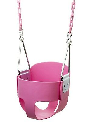 Baby Girl Toddler Outdoor Swing High Back Full Bucket Seat Plastic Coated Chains