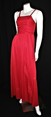 True Vintage 70's Costume Red Long Maxi Dress + Belt size 8/XS (Christmas Party)
