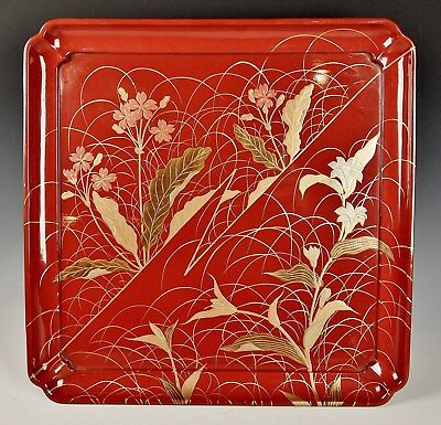 ANTIQUE JAPANESE RED LACQUER SERVING TRAY 1800s Exquisite Meiji Gold Maki-e