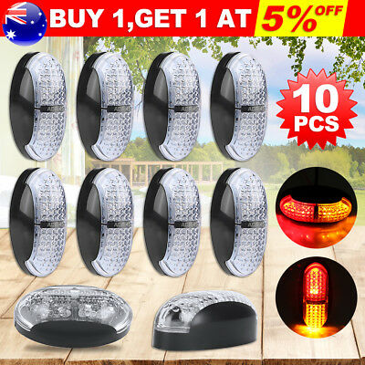10X 4LED Red Amber Side Marker Clearance Light 10-30V Lamp Truck Trailer Caravan