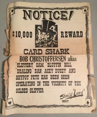 1960s Disneyland WANTED POSTER - Notice! Card Shark from Disneyland Print Shop