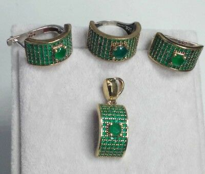 925 Silver Handmade Jewelry Pave Emerald Earrings Ring Set