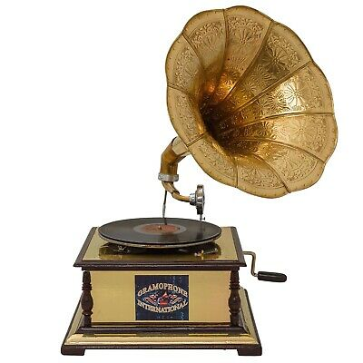 Antique style gramophone with a horn - decorative wooden base