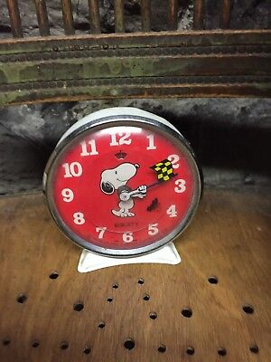 Vintage Snoopy Animated Equity Alarm Clock - 1958 - Race Car With Tweety