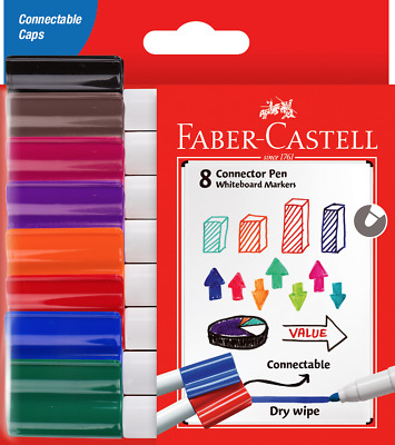Faber-Castell 8 Connector Pen Whiteboard Coloured Markers Connectable Dry Wipe