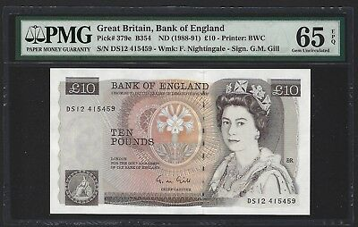 1988-91 Great Britain Bank of England 10 Pounds PMG 65 EPQ GEM UNC, P-379e Gill