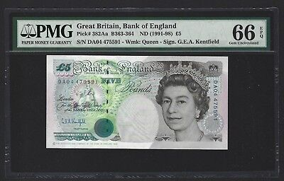 1991-98 Great Britain Bank of England 5 Pounds PMG 66 EPQ GEM UNC P-382Aa 1 of 2