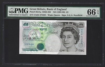 1991-98 Great Britain Bank of England 5 Pounds PMG 66 EPQ GEM UNC P-382Aa 2 of 2