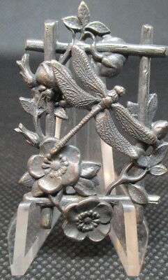 "1940s Vintage French White Metal Button ""DRAGONFLY ON TRELLIS""LG Antique Picture"