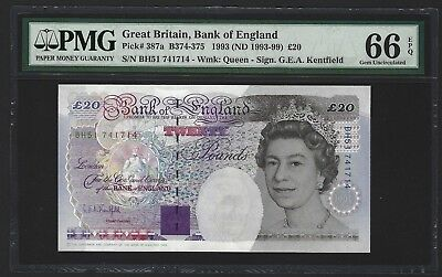 1993-99 Great Britain Bank of England 20 Pounds PMG 66 EPQ GEM UNC P-387a Rare