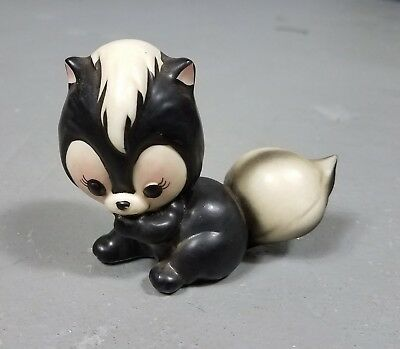 Vintage Ceramic Skunk Figurine Japan Big Eyes Kawaii 4""