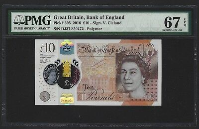 2016 Great Britain Bank of England 10 Pounds PMG 67 EPQ SUPERB GEM UNC P-395