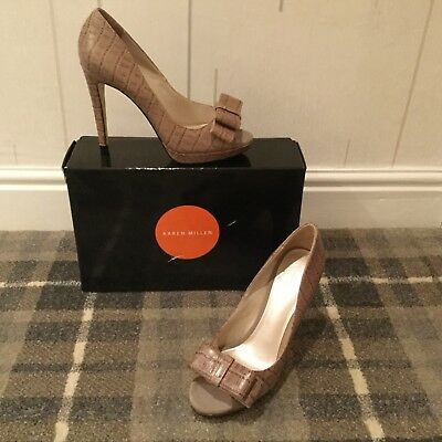 Karen Millen Leather Neutral shoes, size 37.5, New in Box