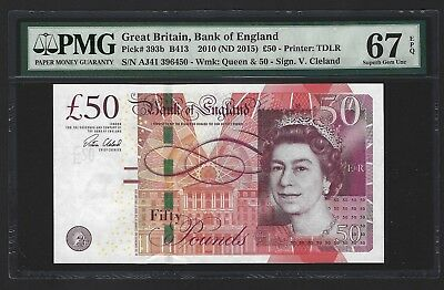 2015 Great Britain Bank of England 50 Pounds PMG 67 EPQ SUPERB GEM UNC P-393b 1