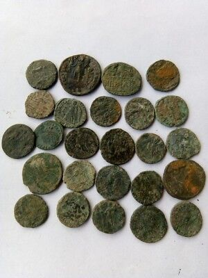 072.Lot of 25 Ancient Roman Bronze Coins,Uncleaned