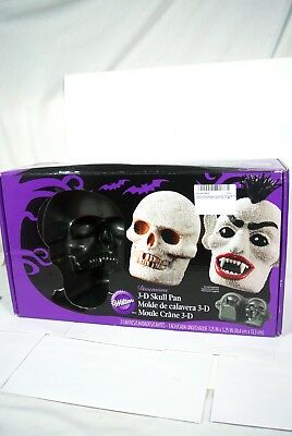 WILTON HALLOWEEN 3-D Skull Cake Baking Pan Discontinued #2105-1181 With Box