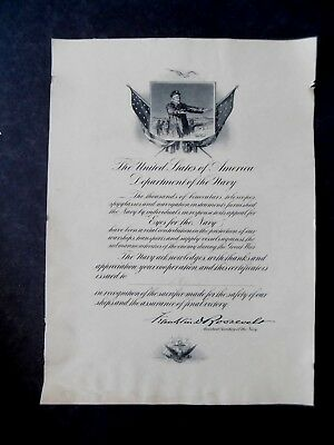 Antique Donation Recognition Certificate Eyes For The Navy Franklin D Roosevelt