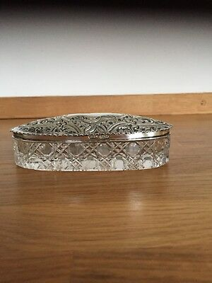 Antique Edwardian Silver Trinket Box With Cut Glass