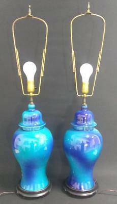 Pair of Two Vintage Old Asian Style Art Pottery Urn Lamps Blue Glaze Ombre Set