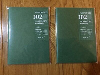 New ! Midori - Traveler's Notebook - 2 x Passport Refills - 002 Grid / Squared
