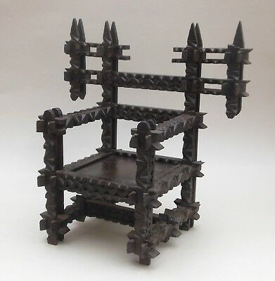 Antique Tramp Art Model Chair ~ Carved Wooden Crown of Thorns Throne / Folk Art