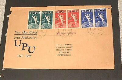 SWA South Africa first day cover D Shimmin Johannesburg UPU 75 Anniversary 1949