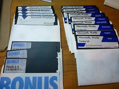 "WOW! Bundle of CLASSICS! MS-DOS, Microsoft Windows, and Works on 5.25"" diskettes"