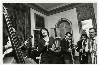 VINTAGE 1976 LARGE Photograph Liza Minnelli in Italy Candid Singing with  Band