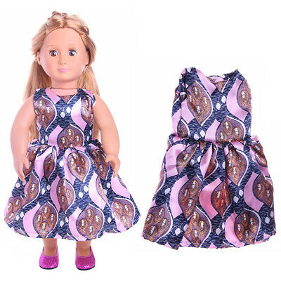 """18"""" Doll Clothes.   Handmade Patterned Dress For 18"""" American Girl Dolls"""