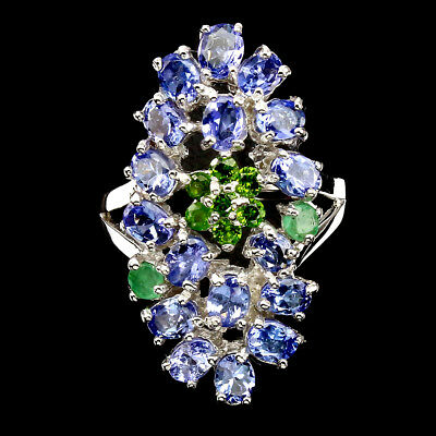 Gorgeous Oval 4x3mm Tanzanite Chrome Diopside Emerald 925 Sterling Silver Ring 9