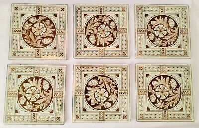 MINTON HOLLINS & Co.STOKE ON TRENT Circa 1880 RARE x 6 DIANTHUS & SUNBURST TILES