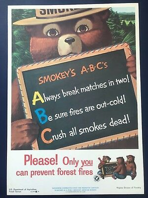 ORIGINAL VINTAGE 1962 SMOKEY BEAR USFS FOREST FIRE PREVENTION POSTER Excellent