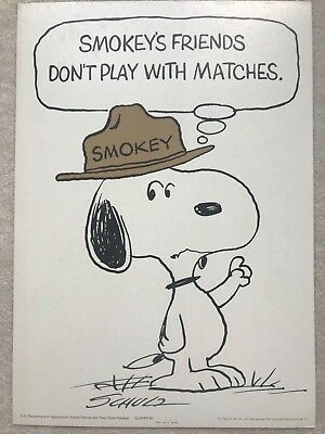 Original Vintage 1971 Smokey Bear Usfs Forest Fire Prevention Poster Snoopy
