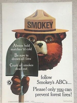 ORIGINAL VINTAGE 1965 SMOKEY BEAR USFS FOREST FIRE PREVENTION POSTER Excellent