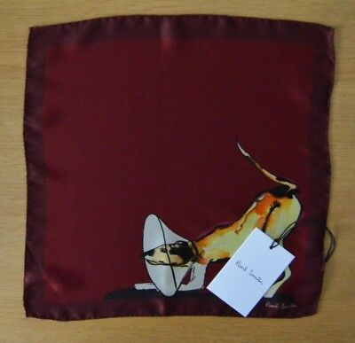 PAUL SMITH Mens burgundy red DOG suit 100% silk pocket square handkerchief