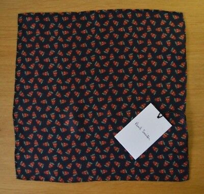 PAUL SMITH Mens blue Strawberry SKULLS suit 100% silk pocket square handkerchief