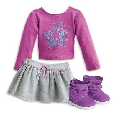American Girl Truly Me Shimmer Doodle Outfit Tee Skirt Boots NEW in AG Box