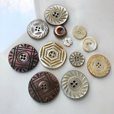 Antique Buttons Carved Shell Mother of Pearl Abalone Mixed Set Lot 1800s 1900s