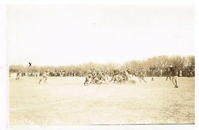 Vintage B/W photo postcard of football game
