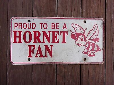 Vintage Louisiana High School Booster License Plate HORNETS