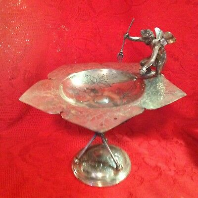 Antique DERBY  Silver Plate Cherub w/spear  Tray Calling Card Holder Dish victor