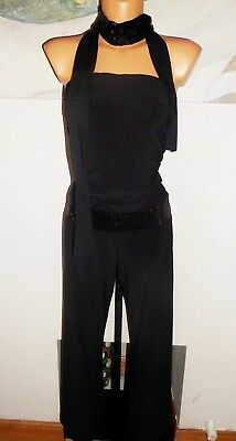 Vicky Martin Ladies Woman Christmas Party Evening Black Jersey Jumpsuit Size 14