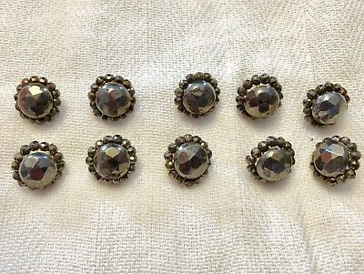 10 Antique Victorian Ornate Cut Steel Button Lot Possibly Austrian